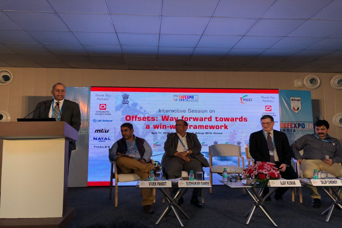 Chief Guest - Dr Ajay Kumar, Secretary Defence Production addressing the audience. Seated on the dais – Mr. Vivek Pandit, Assistant Secretary General, FICCI; Mr. Sudhakar Gande, Vice Chairman, Axiscades Engineering Technologies Ltd and Chairman, FICCI Task Force on Aerospace; Mr. Dilip Chenoy, Director General, FICCI; Mr. Rajib Kumar Sen, Economic Adviser and In-charge Defence Offsets Management Wing, Department of Defence Production, Ministry of Defence